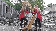 Two Girls One Harp