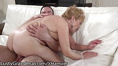 LustyGrandmas Hairy Curvy Mature Gets Young Meat Injection 's Thumb
