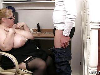 Heavy lady boss rides dick