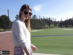 Nadya Nabakova puts her pussy on display at the golf course