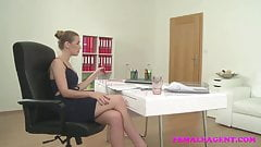 FemaleAgent Sexy agent fucks lucky cameraman fat cock