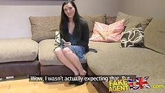 FakeAgentUK Tight British pussy fucked over desk