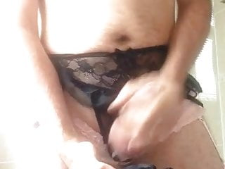Cumming twice on used black panties