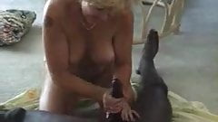 Horny granny sucks big black dick
