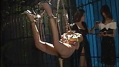 Bound Asian chick endures a nasty BDSM threesome