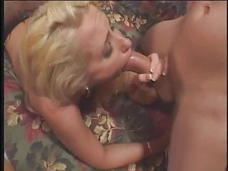 Blonde anal milf hooker in crotchless panties gets fucked by two guys