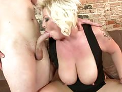 Mature blond mom having sex with son