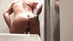 Professional body builder fingers ass