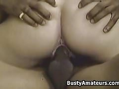 Busty amateur Sarah blows cock and getting fucked