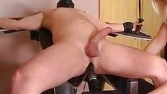 Blonde mistress tortures her sissy slave