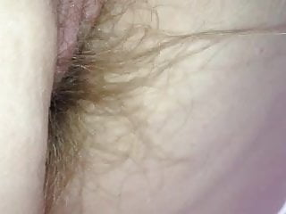 on hew hands & knees i play with her hairy pussy & ass