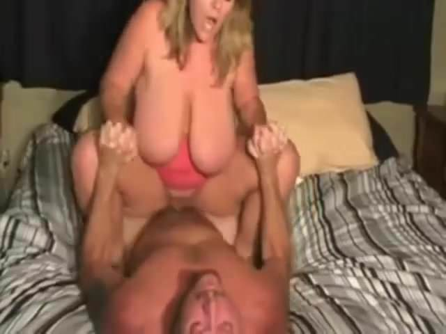 Big saggy tits wife rides husband to moan orgasm