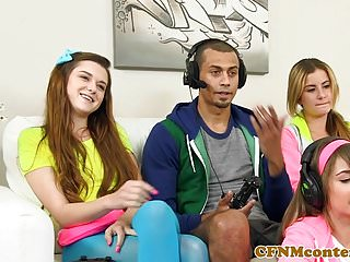 Cfnm Gamer Babes Sharing The One Hard Cock