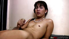 Filipino femboy strips down and masturbates hairy girl rod