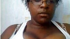 Ebony shows big tits on webcam