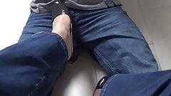 grey pumps with transparent nylon