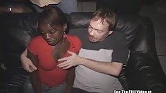 Horny Ebony Cum Slut Gets White Gangbang