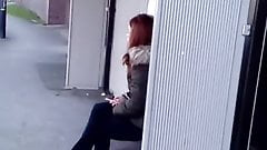 spray cum on teen at bus stop