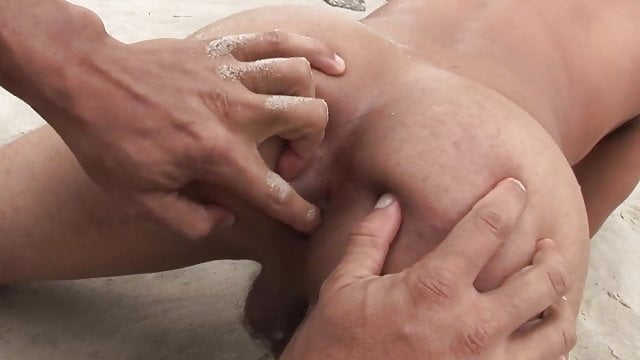Preview 1 of Tanned young guy fucked hardcore by his boyfriend's cock on the beach
