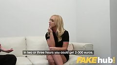 Fake Agent Shy British blonde Amber Deen sucks big cock