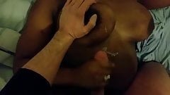 Me cumming on a black girl with huge tits