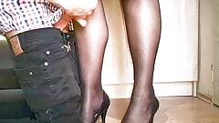 Huge cum on black stockings Cam1