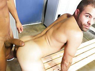 Lusty gay sex in the locker room