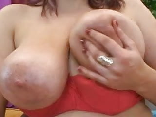 Plump brunette with perfect tits gets cum into mouth