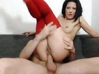 Hot brunette gets cock into ass in front of webcam