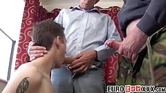 Cock hungry European twink enjoys a steamy threesome sex