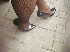 Black High Heels Pumps with Netstockings 17cm Heel