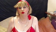 smoking sexy tgirl in pink lingerie