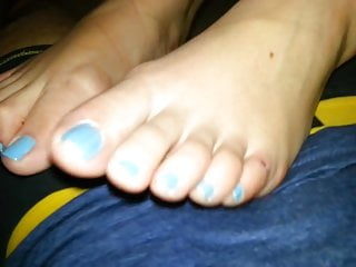 french lover wife stroke my cock with her blue feet pt1
