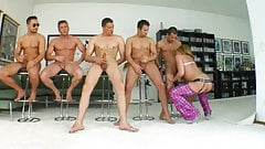 Victori Blond in group bukkake blowbang action from Cum For