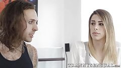 Freaky tranny chick is eager to suck a big fuck stick