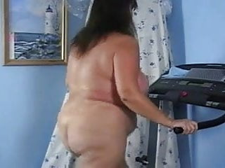 Mature Butt Naked Big Ass Treadmill Workout