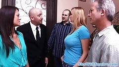 Busty blonde squirter pussyfucked by realtor