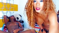 Ebony shemale couple masturbating webcam