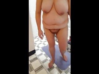 my bbw wife drying her bbw body,hairy pussy,big tits