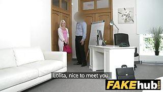 Fake Agent Hot Euro Blonde Bombshell likes Doggy Style