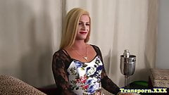 Blonde transsexual spreads her ass and jerks