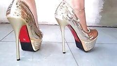 sexy  gold high heels