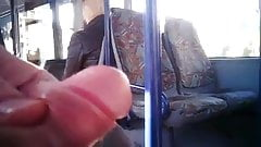 Jerking for blonde mature woman on bus