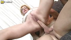 Very horny mother fucking and sucking her younger lover
