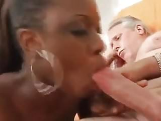 Ebony Teen Sucks White Grandpa Cock