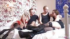German Girlfriend Change Foursome with Skinny College Teen