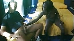Pitch black girl eats cum
