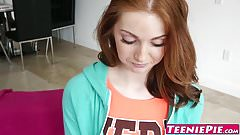 Young redhead babe Natalie Lust creampied by huge dick's Thumb