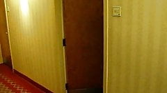 Wife walks out naked in hotel hallway