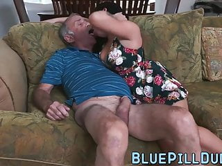 Stunning Latina Teen Gives Grandpa A Great Blowjob